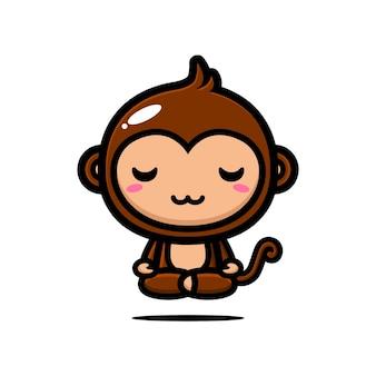 Słodka małpa unosi się w medytacji