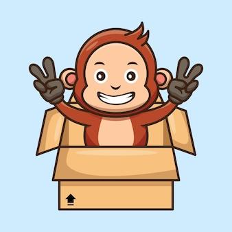 Słodka małpa z kartonowego pudełka