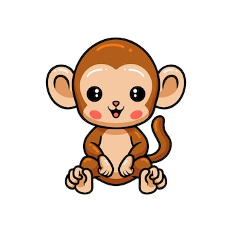 Słodka małpka siedząca z kreskówkową małpą