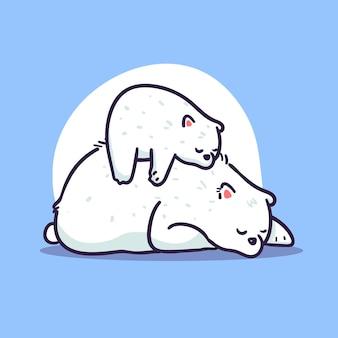 Słodka Mama I Dziecko Niedźwiedź Polarny śpi Ilustracja Premium Wektorów
