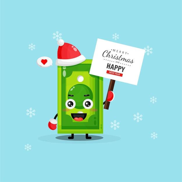 Słodka maskotka banknot przynosi świąteczną tablicę z życzeniami