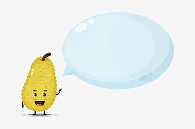 Słodka maskotka jackfruit z mową bańki