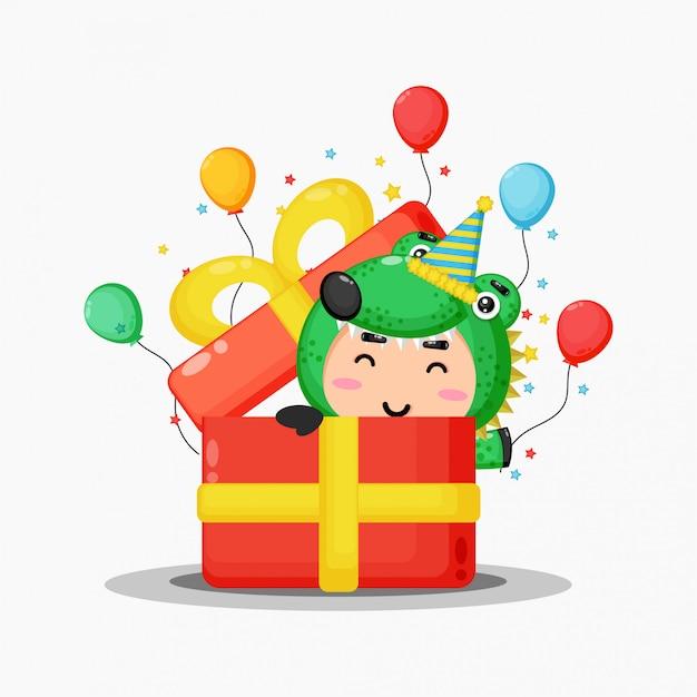 Słodka maskotka krokodyl w pudełku prezentowym