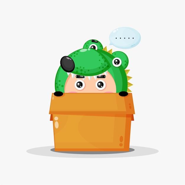 Słodka maskotka krokodyl w pudełku