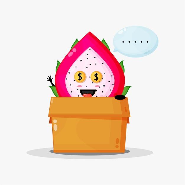 Słodka maskotka owoc smoka w pudełku