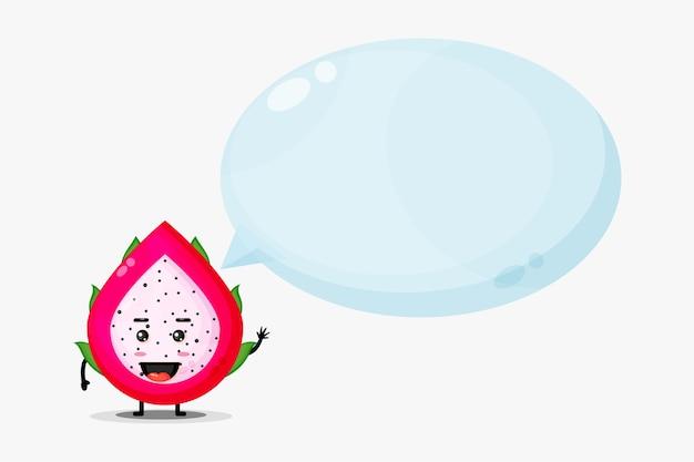Słodka maskotka owoc smoka z mową bańki