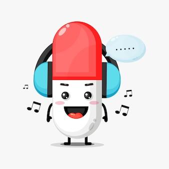 Słodka maskotka pigułki słuchania muzyki