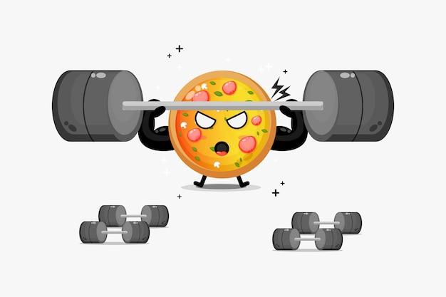 Słodka maskotka pizzy podnosząca sztangę