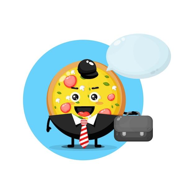 Słodka maskotka pizzy wychodzi do pracy