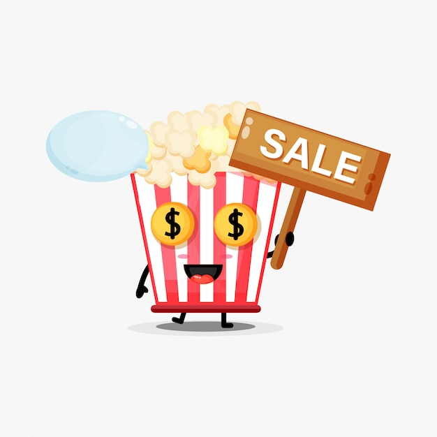 Słodka maskotka popcorn ze znakiem sprzedaży