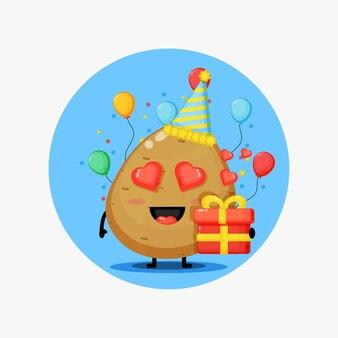 Słodka maskotka warzywo ziemniak na urodziny