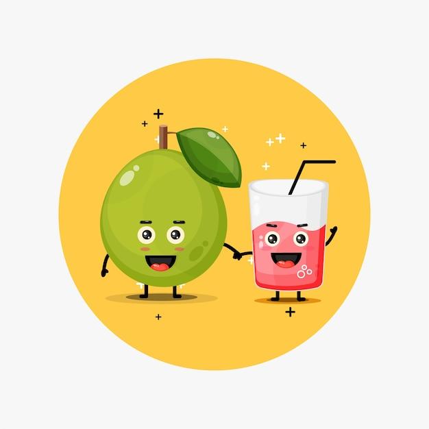 Słodka maskotka z guawy i soku z guawy, trzymając się za ręce
