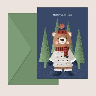 Słodka miś kartka świąteczna