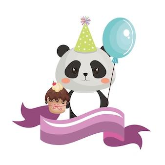 Słodka miś panda z kartą urodzinową ciastko kawaii