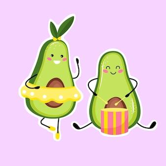 Słodka muzyka owoc awokado gra na bębnie. śliczny owoc awokado kawaii. płaski styl kreskówki.