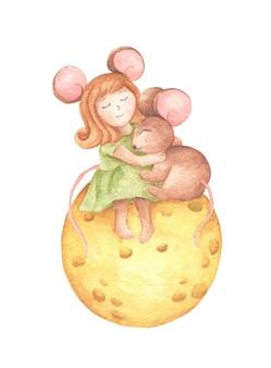 Słodka mysz dziewczyna przytula małą mysz siedzącą na księżycu z serem. rysowanie dłoni akwarela.