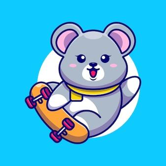 Słodka mysz kreskówka deskorolka