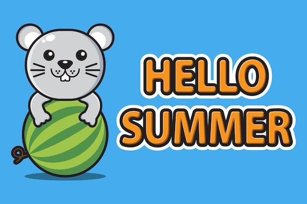 Słodka mysz maskotka przytula arbuza z pozdrowieniami witaj lato