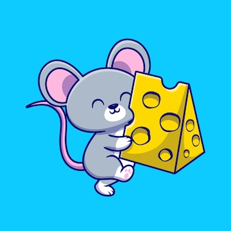 Słodka mysz trzymając ser ilustracja kreskówka. koncepcja karmy dla zwierząt na białym tle płaskie kreskówka