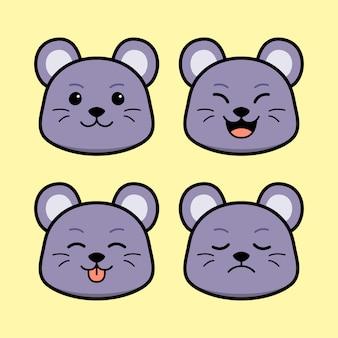 Słodka mysz z zestawem zwierząt z wyrazem twarzy