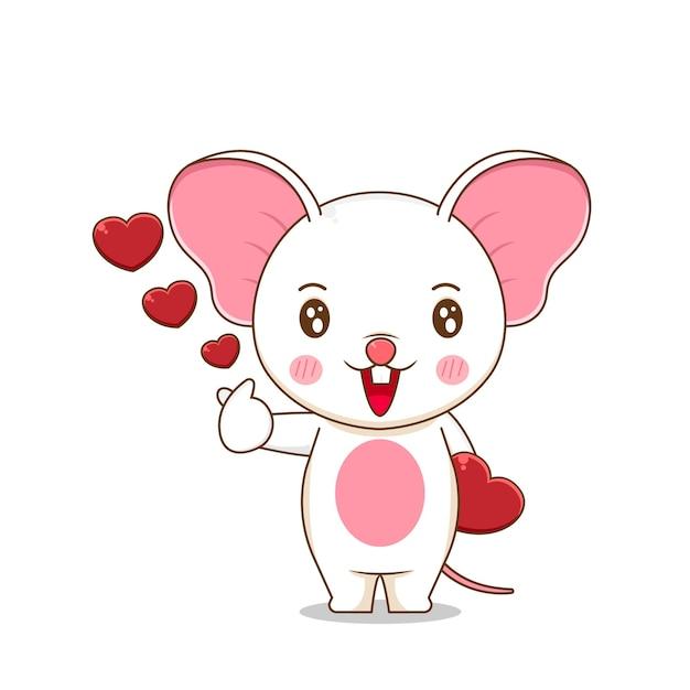 Słodka myszka dająca miłość