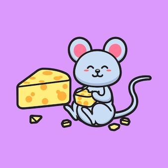 Słodka myszka jedząca ser
