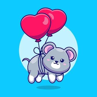 Słodka myszka pływająca z balonem w kształcie serca