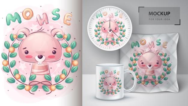 Słodka myszka w kwiatowym plakacie i merchandising