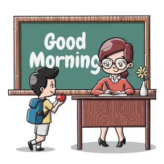 Słodka nauczycielka i jej uczeń kreskówka