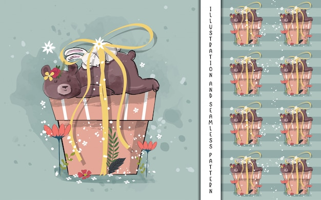Słodka niedźwiadkowa ilustracja dla dzieciaków
