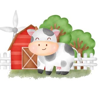 Słodka owca rysunkowa na farmie