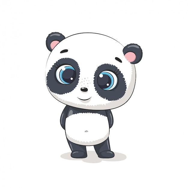 Słodka panda dla niemowląt. ilustracja na chrzciny, kartkę z życzeniami, zaproszenie na imprezę, nadruk koszulki z modnymi ubraniami.