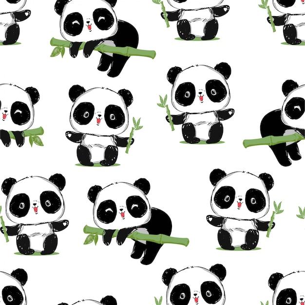 Słodka panda dziecko panda bez szwu. wzór. projektowanie tkanin.