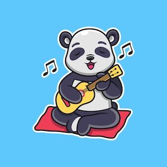 Słodka panda gra na gitarze. kreskówka wektor ikona ilustracja, odizolowane na premium wektorów