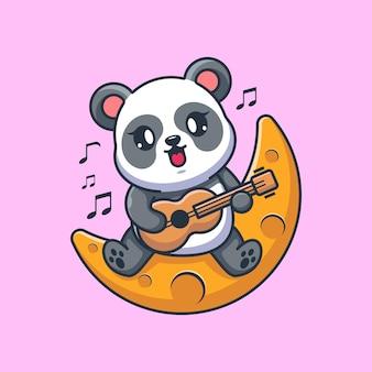 Słodka panda gra na gitarze na księżycu