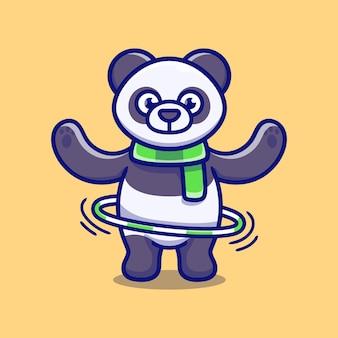 Słodka panda grająca w hula-hoop