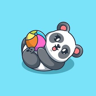 Słodka panda grająca w piłkę kreskówkową