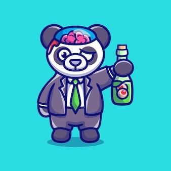 Słodka panda halloweenowa zombie niosąca butelkę do oczu