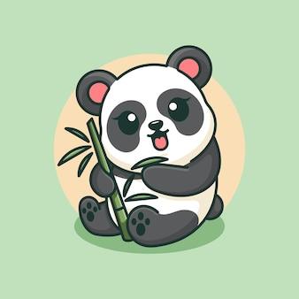 Słodka panda je bambusową kreskówkę