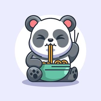 Słodka panda je kreskówkę z makaronem ramen