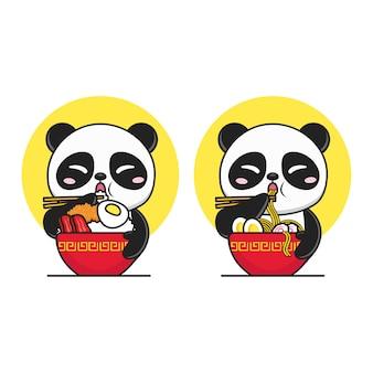 Słodka panda je ryż i makaron w logo czerwonej miski