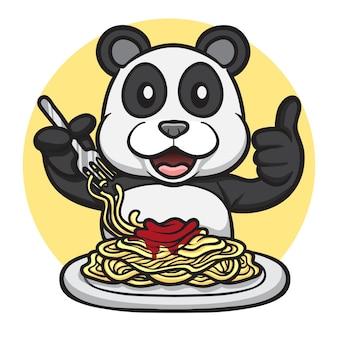 Słodka panda jedząca spaghetti