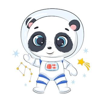 Słodka panda kosmonauta z gwiazdami.
