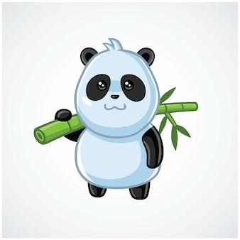 Słodka panda logo maskotka przenoszenie bambusa postaci kreskówki projekt ilustracji wektorowych