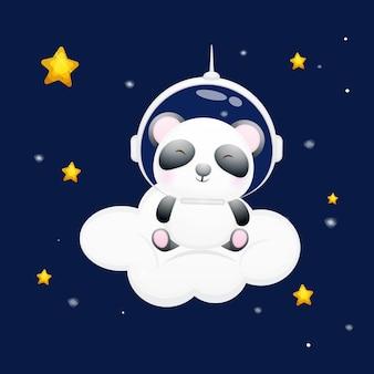 Słodka panda mała usiądzie na chmurze i ma na sobie hełm astronauty. kreskówka zwierząt