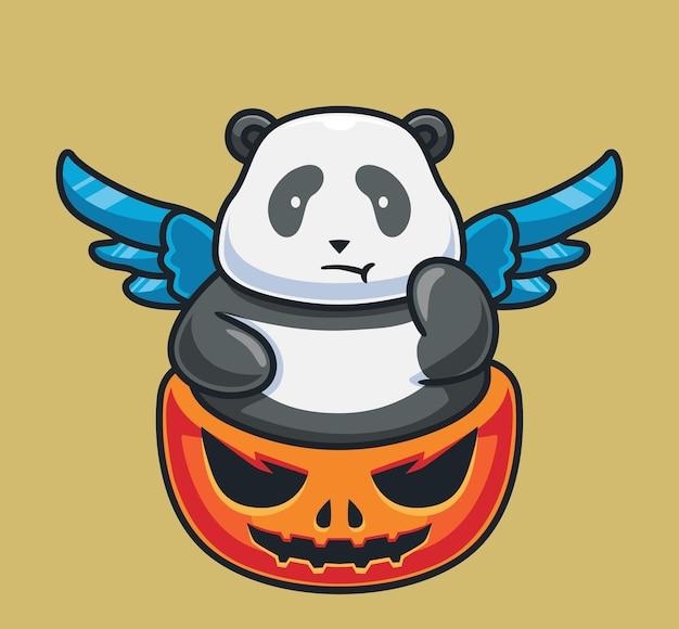 Słodka panda na gigantycznej dyni na białym tle kreskówka halloween ilustracja płaski styl