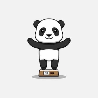 Słodka panda na wadze
