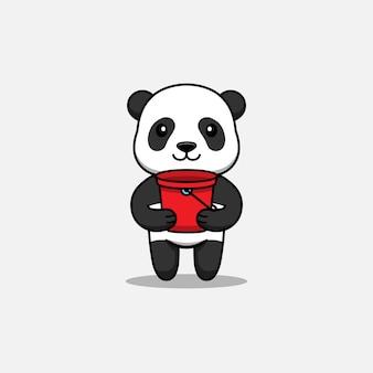 Słodka panda niosąca czerwone wiadro
