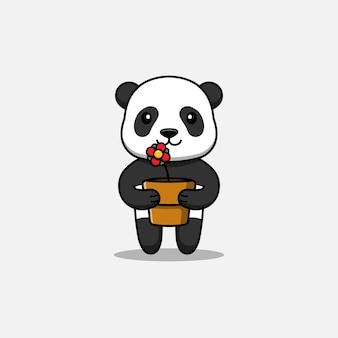 Słodka panda niosąca doniczkę z kwiatami