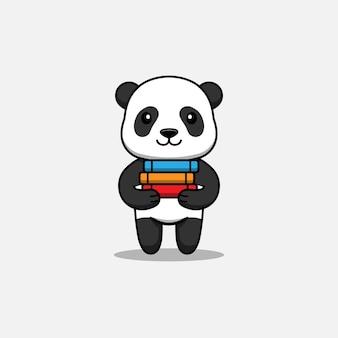 Słodka panda niosąca kilka książek